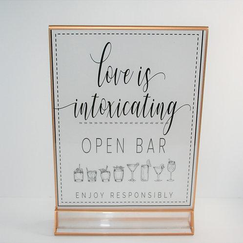 """Open Bar"" Acrylic Sign"