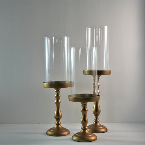 Glass Shade - Ceramic Gold Candle Holders