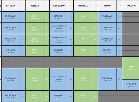 New schedule beginning Monday August 3rd