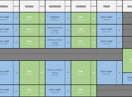 Current schedule below, schedule changes in 1 week