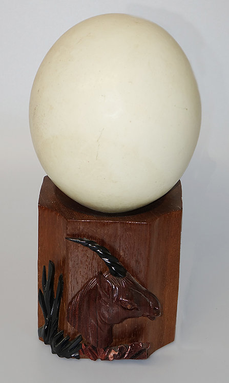 Ostrich egg with wooden support