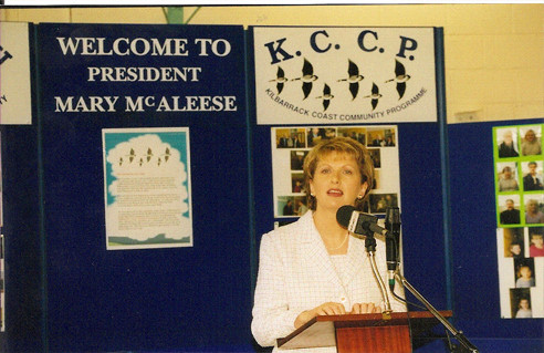 The President of Ireland Mary Mc Aleese visited Kilbarrack Coast Community Programme (KCCP) on the 1st April 2003 and it was a great uplifting experience.