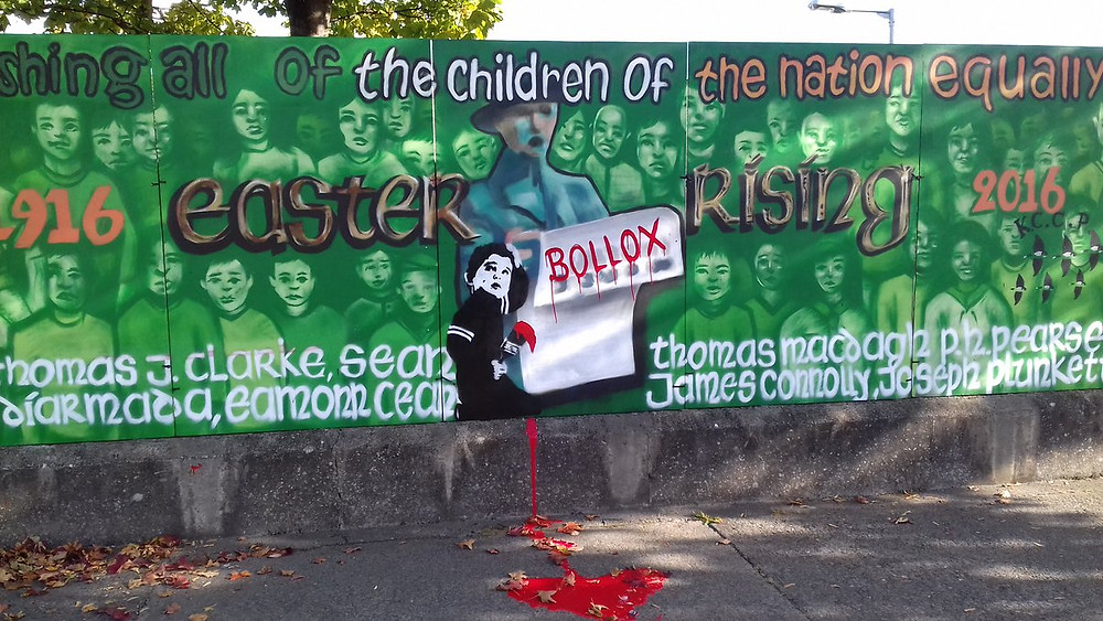 """The full 1916 mural that we asked Banksy to tag in the film """"Kilbarrack's ode to Banksy"""". Did he answer our call?"""