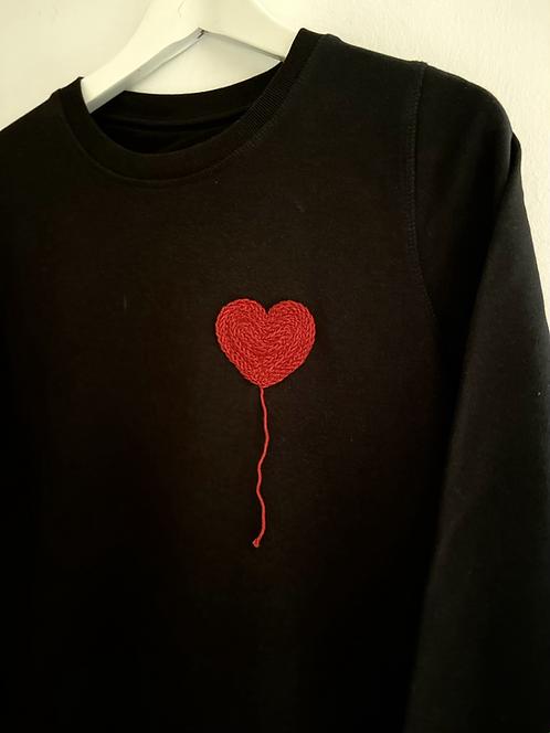 ROBE SWEAT noire - ballon cœur