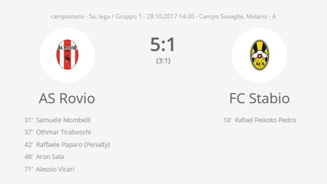 AS Rovio - FC Stabio 5 -1 / le pagelle