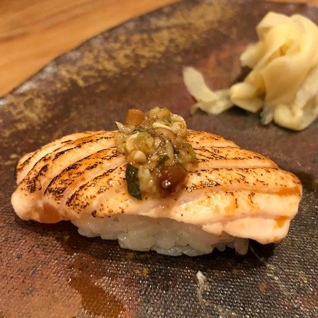 Salmon and pine nuts was a great combo a
