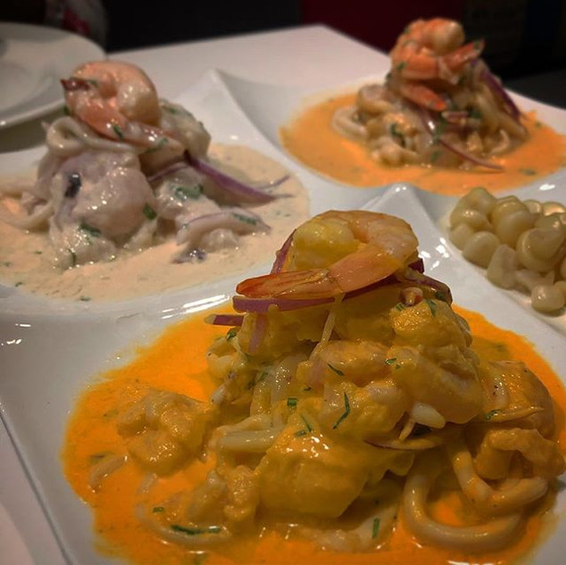 Three different ceviche sauces on mixed