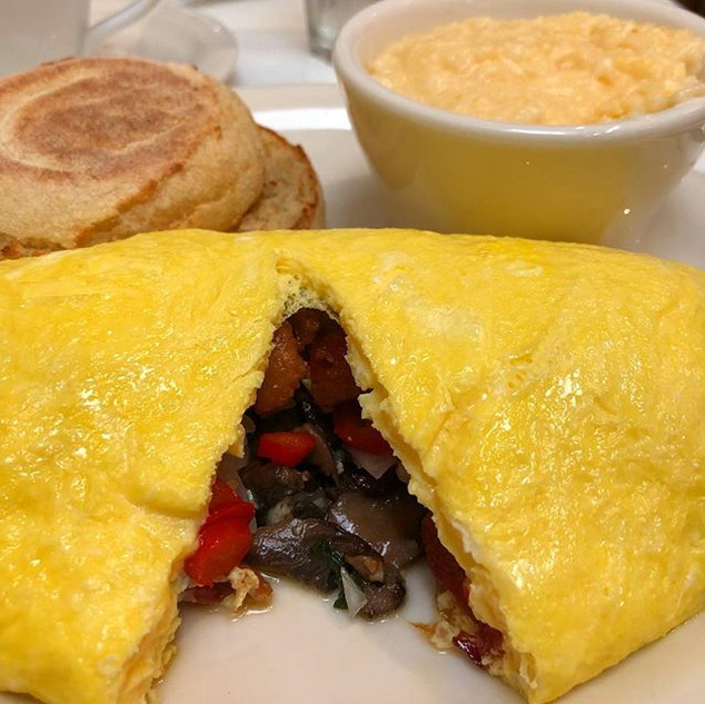 Wonderful bacon and mushroom omelet from