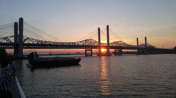 Sunset over tollbridge
