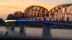 Walking bridge lit up