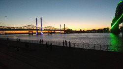 Toll bridge sunset