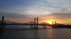 Sunset over toll bridge