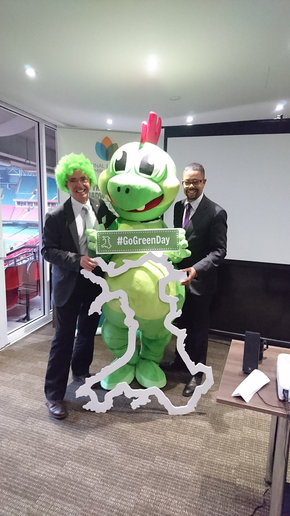 Launch of Go Green Day with Vaughan Gethin Cabinet Secretary for Health Wellbeing and Sport