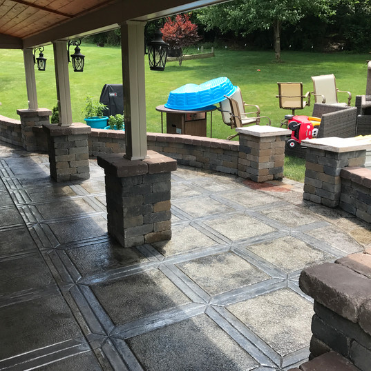Stamped Patio & Masonry Walls