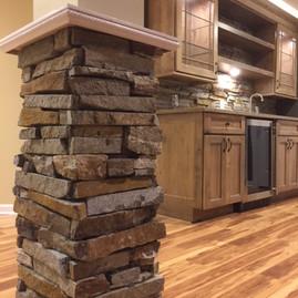 Basement Remodel/Stone Post & Wet Bar