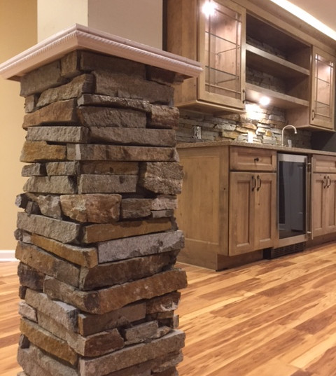 Basement Remodel/Stone Post & Wet Bar