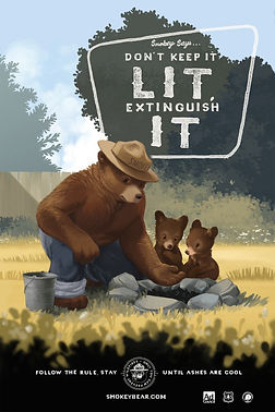 Smokey with baby bears.jpg