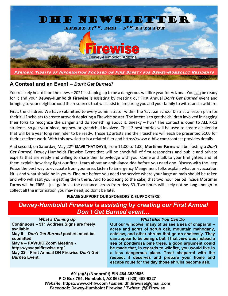 DHF Newsletter 5 - Don't Get Burned Cont