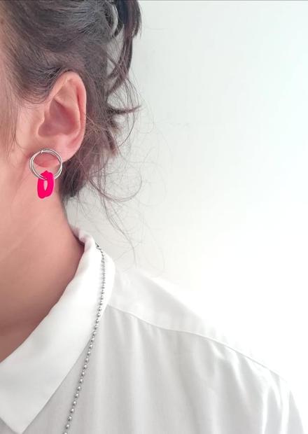 Neon Red Earrings