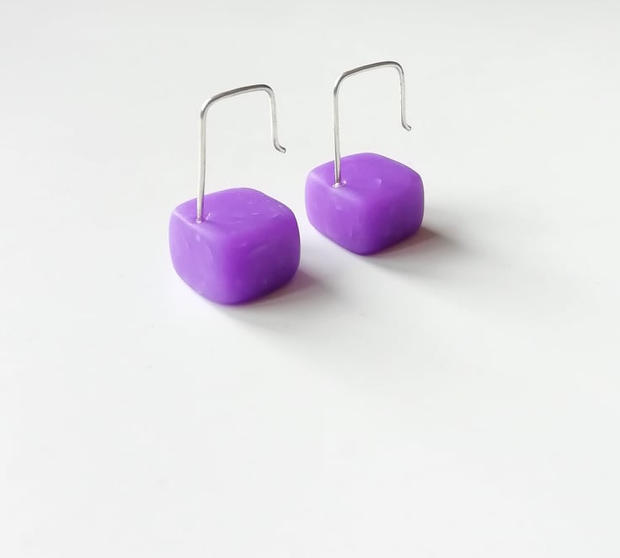 Purple Cube Earrings