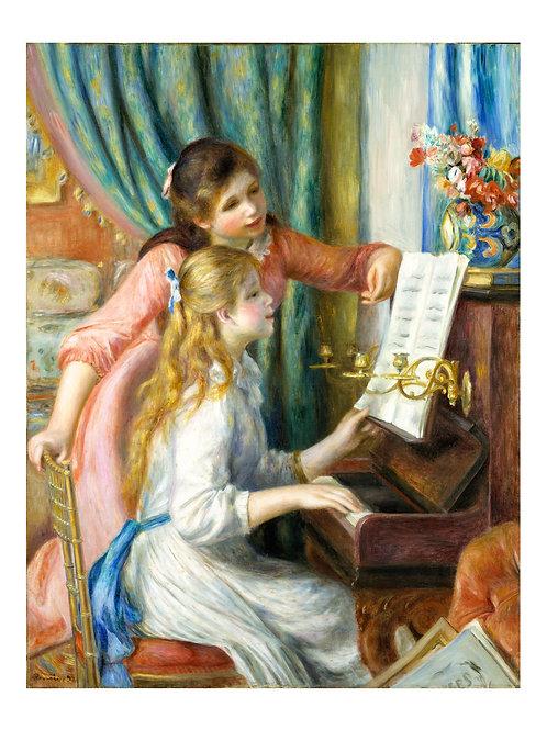 Impressão Emoldurada - Duas meninas ao piano- Pierre - Auguste Renoir