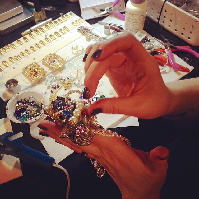Working on nails at the Fashion Week CND Design Lab, February 2014 _jewel thieves__#cndnailpro #cnda