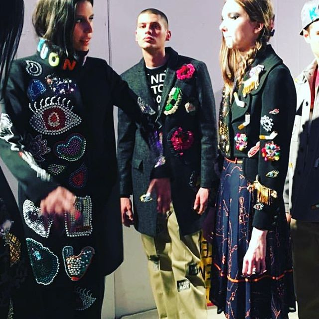 Backstage during first looks before the show _officiallibertine #CNDatFashionWeek #cnddesignlab #nyf