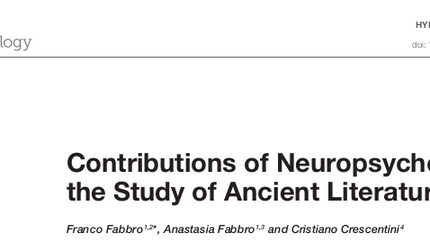 "Nuovo articolo ""Contributions of Neuropsychology to the Study of Ancient Literature"""
