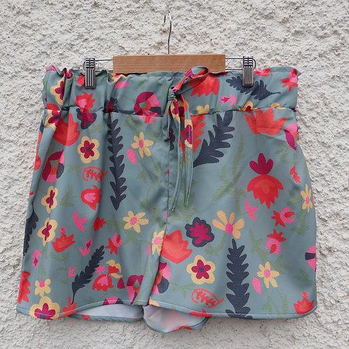 Olive green floral print PJ shorts