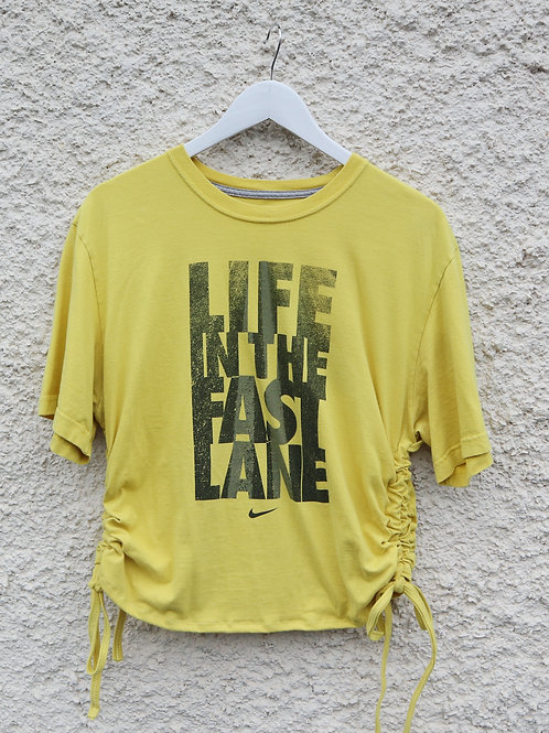 Yellow 'Life in the fast lane' Nike ruched tee