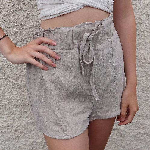 Beige plain PJ shorts