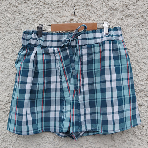 Blue and red checked PJ shorts