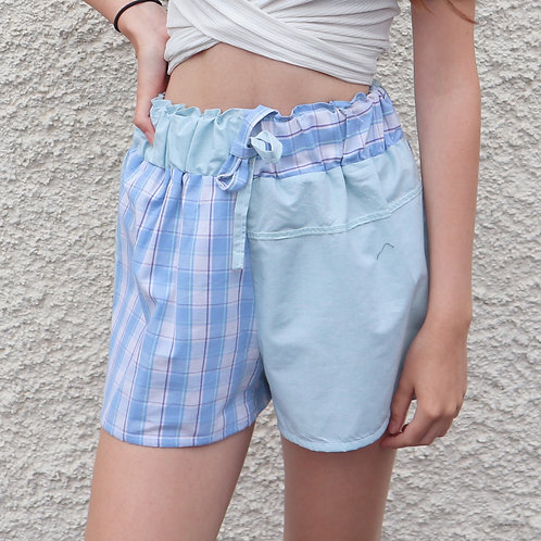 Blue and green contrast PJ shorts