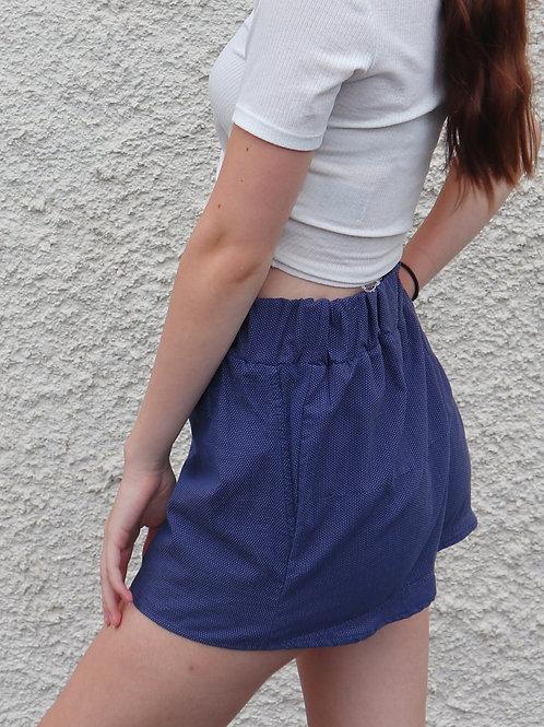 Navy spotted PJ shorts