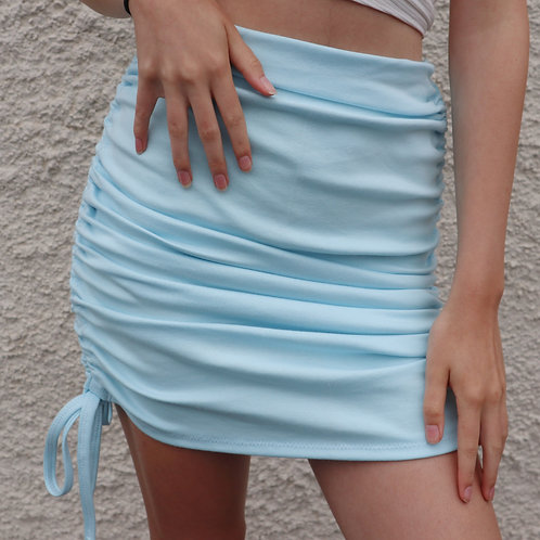 Baby blue ruched mini skirt
