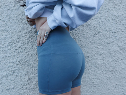 Dusky blue booty shorts