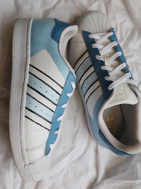 Blue Adidas superstars SIZE UK 4.5