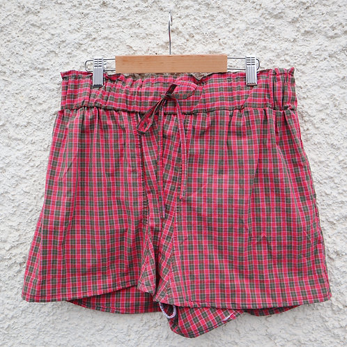 Red and green checked PJ shorts