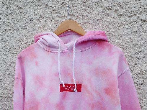 Pink tie dyed 'MAN' slogan hoodie
