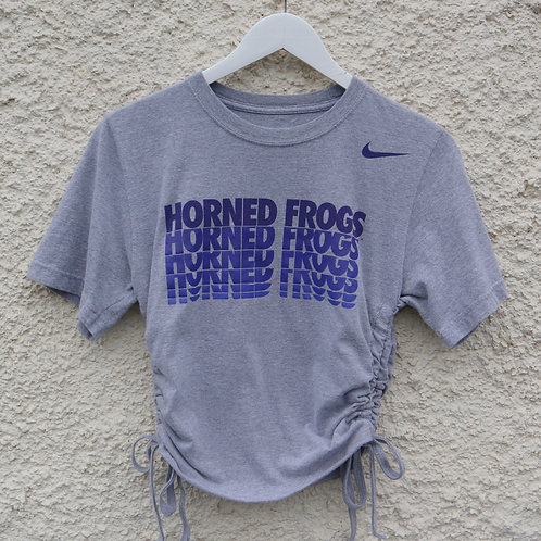 Grey Nike 'Horned Frogs' ruched tee