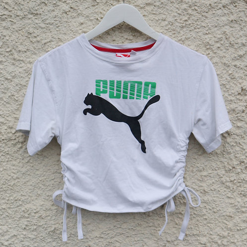 White green and black ruched tee