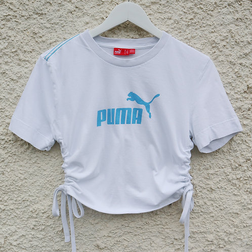 White and blue Puma ruched tee