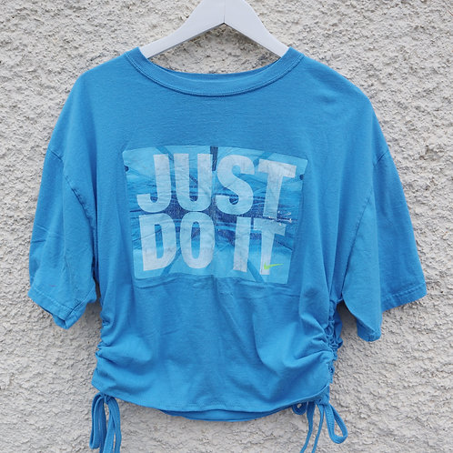 Blue and yellow Nike tick ruched tee