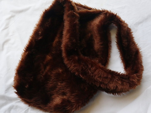 Chocolate brow fur tote bag