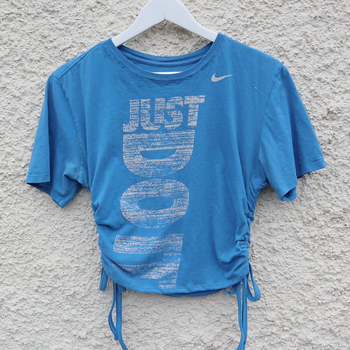 Blue and white Just Do It ruched tee