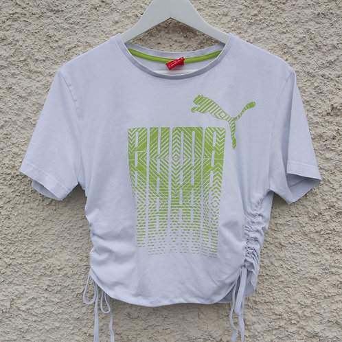 White and green Puma ruched tee