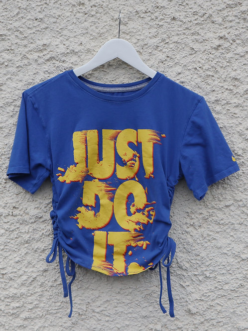 Blue and yellow Just Do It ruched tee