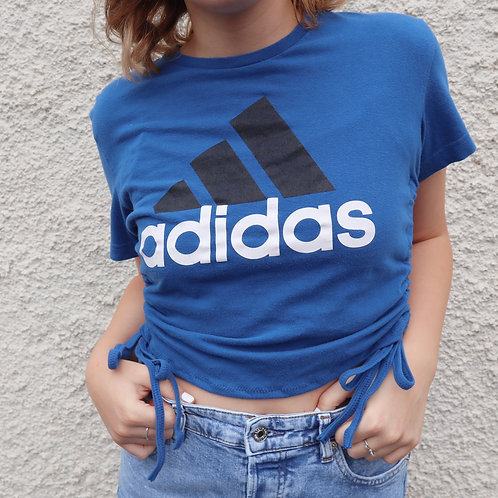 Blue, black and white Adidas ruched tee
