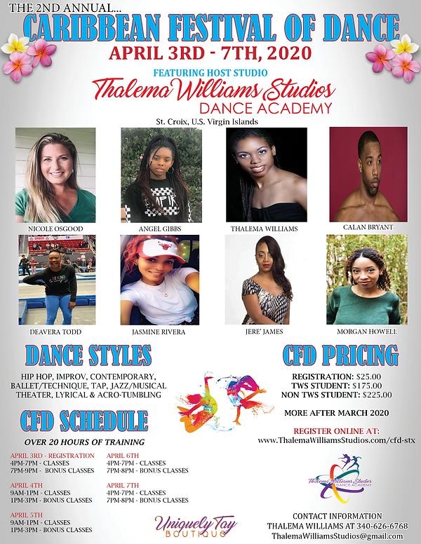 Caribbean Festival of Dance Flyer 2020 -