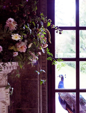 Mantel shelf wedding flowers Venue - Larmer Tree